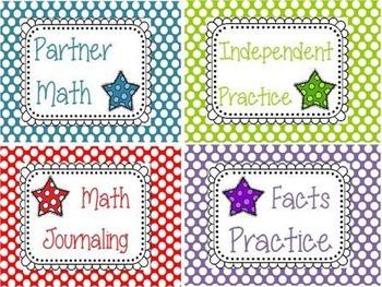 Star Math Center Signs
