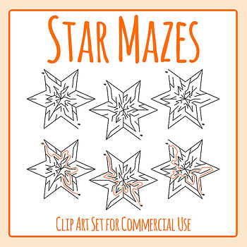 Star Maze - Mazes with Solutions Clip Art Set for Commercial Use