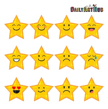 Star Moods Clip Art - Great for Art Class Projects!