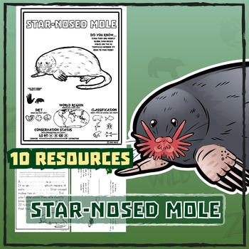 Star-Nosed Mole -- 10 Resources -- Coloring Pages, Reading & Activities