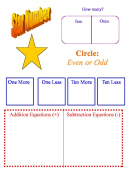 Star Number or Number of the Day Worksheet