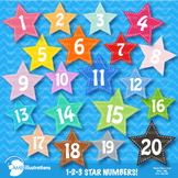 Star Numbers Clipart, Badges, Western theme, AMB-319