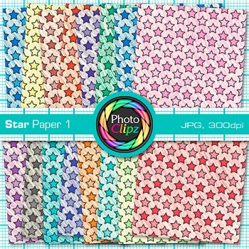 Rainbow Star Paper {Scrapbook Backgrounds for Worksheets, Resources} 1