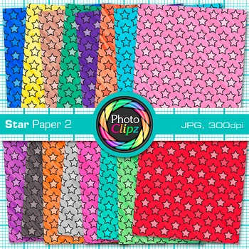 Rainbow Star Paper {Scrapbook Backgrounds for Worksheets, Resources} 2