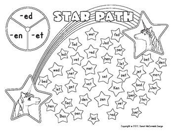 Star Path - CVC Game Pack for Literacy Centers - Unicorn Theme