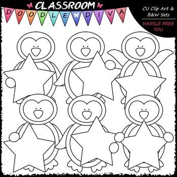 Star Penguins Clip Art & B&W Set