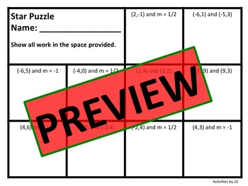 Star Puzzle: Writing Linear Equations Given Two Points or One Point and a Slope