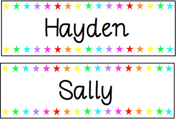 Star Rainbow labels - print friendly {Editable}