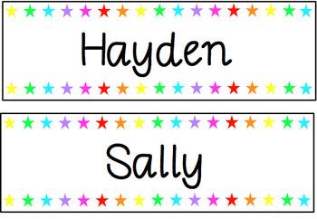 #AUSBTS18 Star Rainbow labels - print friendly {Editable}