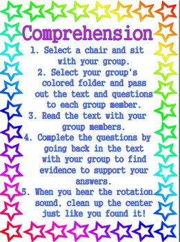 Stars Theme - Reading and Math Center Directions and Procedures
