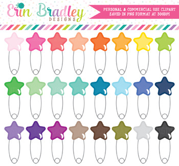 Star Safety Pin Clipart