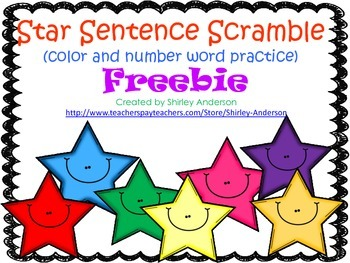 Star Sentence Scramble (Color and Number Word Practice) Freebie
