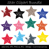 Star Shape Clip Art - Color Stars with Grunge Textures