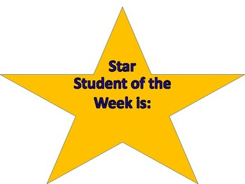 Star Shape Student of the Week Label
