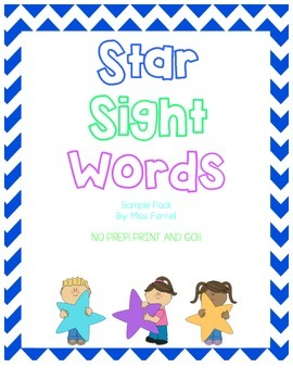 Star Sight Word Sample Packet with Fry Words