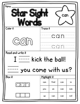 Star Sight Words Pre-Primer Edition
