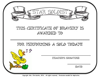Star Soloist Certificate