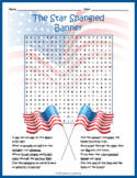 STAR SPANGLED BANNER - NATIONAL ANTHEM Word Search Puzzle Worksheet Activity