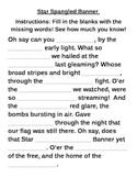 Star Spangled Banner Fill in the Blank Worksheet