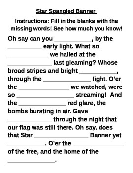 Star Spangled Banner Fill in the Blank Worksheet