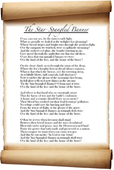 "Star Spangled Banner Lyrics Poster: National Anthem, ""Defe"