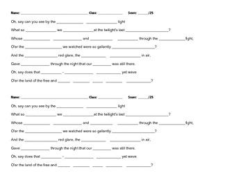 Star-Spangled Banner Lyrics Quiz
