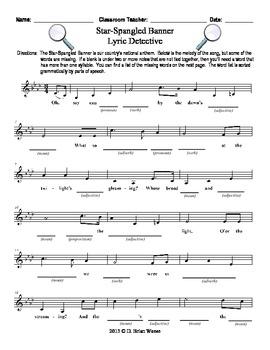 Star Spangled Banner - Missing Word Worksheet