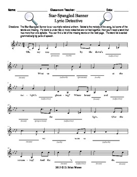 Star Spangled Banner - Missing Word Worksheet
