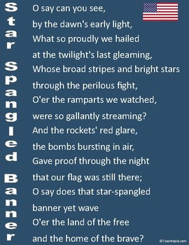 Star Spangled Banner Poster for Classroom Lyrics to Star Spangled Banner