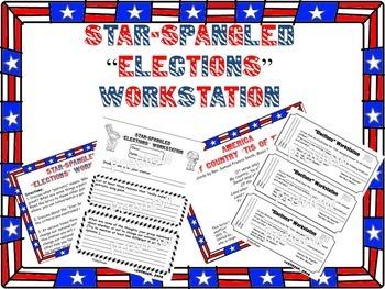 Star-Spangled Banner Rhythm and Elections Workstations (BUNDLE)