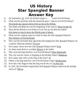 Star Spangled Banner Video Questions and Answer Key