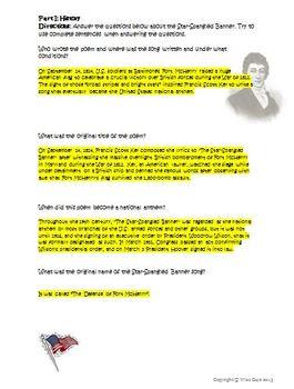Star Spangled Banner War of 1812 Activity
