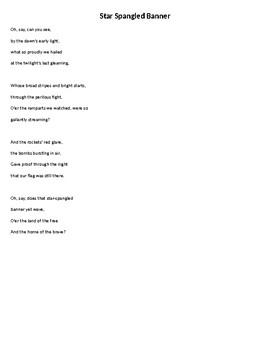 Star Spangled Banner - Words