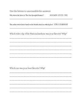Star Spangled Banner Worksheet