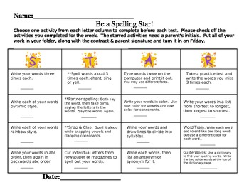 STAR Spelling Word Contract