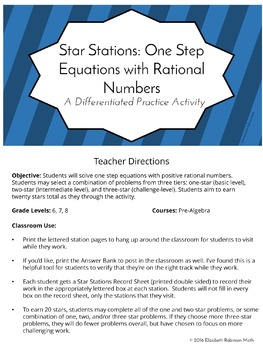 Star Stations: One Step Equations - Differentiated Practice