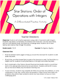 Star Stations: Order of Operations with Integers - Differentiated Practice