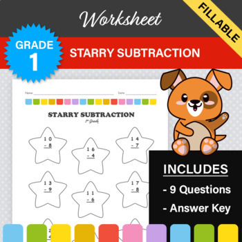 Star Sticker Subtraction - Subtraction Worksheet with Star Theme