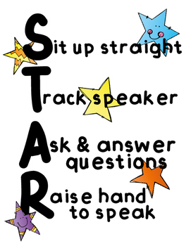 Star  Behavioral Strategy Poster for Classroom Management
