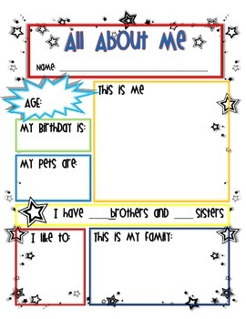 Star Student All About Me Worksheet By Miss Bliss Tpt