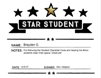 Star Student Award Certificate Template