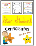 Star Student Certificates