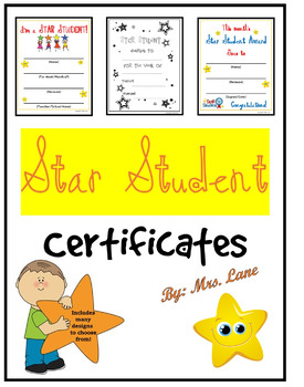 star student certificates by mrs lane teachers pay teachers