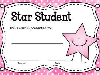 Star Student Awards ~EDITABLE~