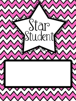 Star Student Bulletin Board Headers (Pink Chevron)