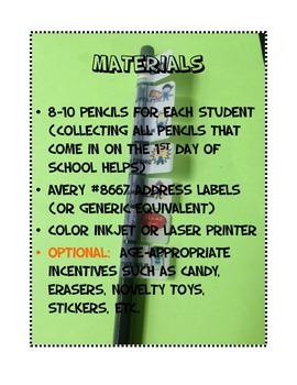 Star Student Pencil Challenge Classroom Supply Management Back to School Reward