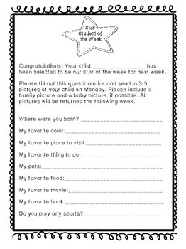 Star Student Questionnaire
