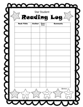 Star Student Reading Log FREEBIE!