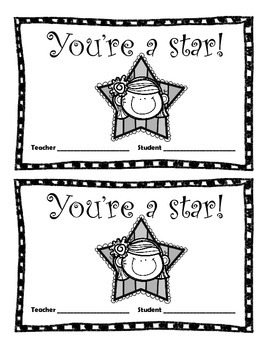 Star Student Reward Sheets
