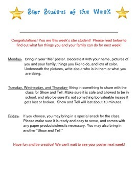 Star Student of the Week Activities & Directions